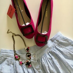 Pink faux suede flats
